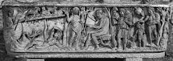 Image result for Sta. Maria Antiqua Sarcophagus Philosopher, Orant & Old & New Testament Scenes v